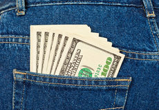 U.S. dollars in the jeans pocket Stock Images