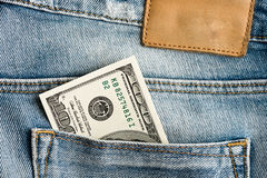 U.S. dollars in the jeans pocket Royalty Free Stock Photos