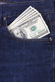 U.S. dollars in jeans pocket Royalty Free Stock Image