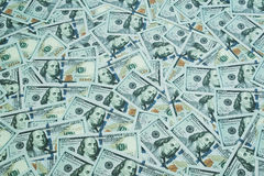 U.S. dollars. Lots of banknotes. One hundred dollar denominations royalty free stock image