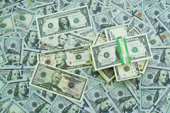U.S. dollars. Lots of banknotes. One hundred, fifteen, ten, five and one dollar denominations Royalty Free Stock Photos