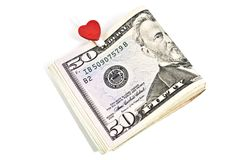 U.S. dollars with the symbol of the heart Royalty Free Stock Images