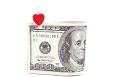 U.S. dollars with the symbol of the heart Stock Photo