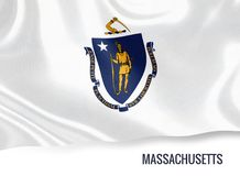 U S drapeau du Massachusetts d'état illustration libre de droits