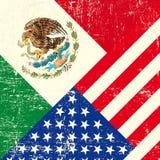 U.S.A. e bandiera messicana di lerciume. Fotografia Stock
