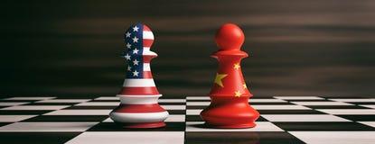 U.S.A. e bandiere della Cina sui pegni di scacchi su una scacchiera illustrazione 3D Fotografie Stock
