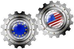 U.S.A. e bandiere di Europa sull'ingranaggi royalty illustrazione gratis