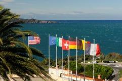 U.S.A. e bandiere europee Fotografia Stock Libera da Diritti