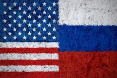 U.S.A. e bandiere russe Fotografie Stock Libere da Diritti