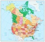 U.S.A. e mappa politica dettagliata con gli stati, provinc del Canada grande Fotografia Stock Libera da Diritti