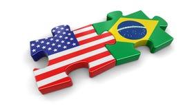 U.S.A. e puzzle del Brasile dalle bandiere Fotografia Stock