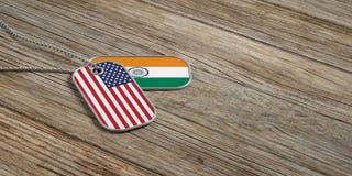 U.S.A. e relazioni militari dell'India, etichette di identificazione su fondo di legno illustrazione 3D royalty illustrazione gratis