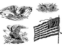 U.S. eagles and old U.S. historical flag Royalty Free Stock Images