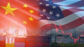 U.S.A. ed i soldi/Stati Uniti di finanza di affari di imposta di conflitto dell'economia della guerra commerciale della Cina hann immagine stock libera da diritti