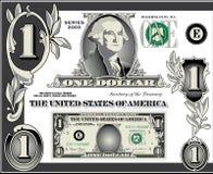 U.S. Elementos da conta de dólar Imagens de Stock