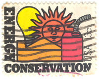 U.S. Energy Conversation Stamp. Canceled 13 cent United States of America energy conservation stamp Stock Photo