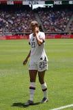 U S Equipe de futebol nacional Christen Press dianteira das mulheres #23 na ação durante o jogo amigável contra México imagem de stock royalty free