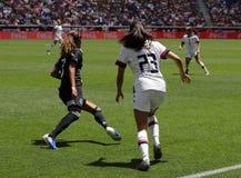 U S Equipe de futebol nacional Christen Press dianteira das mulheres #23 na ação durante o jogo amigável contra México fotografia de stock royalty free
