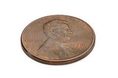 U S ett centmynt som isoleras på vit bakgrund reverse Arkivfoton