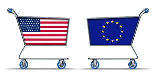 U.S.A. European union trade market surplus deficit Stock Images