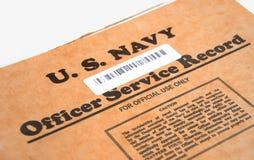 U.S. Expediente de servicio del oficial Foto de archivo
