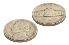 U S fünf-Cent-Münze lokalisiert auf weißem Hintergrund Stockfotografie
