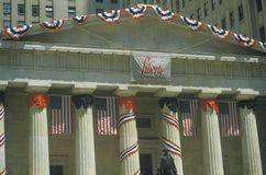 U.S. Federal Hall decorated for Liberty Weekend, Wall Street, New York City, New York Royalty Free Stock Image