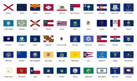 U.S.A. 50 federal states official flags Royalty Free Stock Images