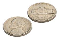 U S fem cent mynt som isoleras på vit bakgrund Arkivbild