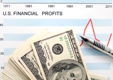 U.s. financial profits. Dollars with document showing us financial profits Royalty Free Stock Images