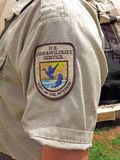 U.S. Fish and Wildlife insignia on shirt sleeve, Berkshires, MA Stock Photography