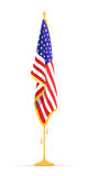 He U.S.A Flag in the Cabinet, hanging on the rack in the room of the American President. Royalty Free Stock Image