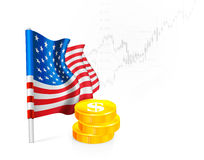U.S. Flag with coins Stock Photography