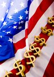 U.S.A flag & Dollar Stock Photo