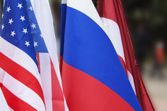 Usa flag and Russia flag background Royalty Free Stock Photos