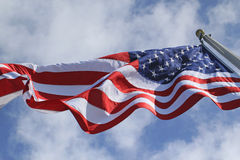 U.S. Flag Flying. American flag flying over the U.S.S. Arizona Memorial. Photo taken May 19, 2012 Royalty Free Stock Image