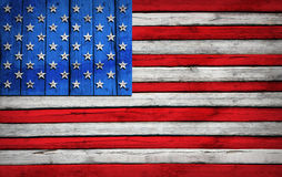 U.S. flag painted on wooden boards Stock Photo
