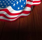U.S. flag on a wooden floor Royalty Free Stock Images