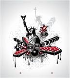 U.S.A. Fondo abstracto de la música stock de ilustración