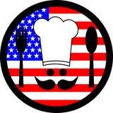 U.S. food. Circular symbol representing the U.S. food Stock Image