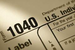 U.S. Forma de impuesto 1040 Fotografía de archivo