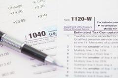 U S Formulário de imposto da renda fotos de stock royalty free