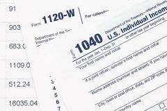 U S Formulário de imposto da renda imagens de stock