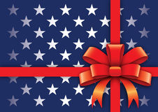 U.S. Gift stylized background. A large patriotic background with stars and red ribbon Stock Image