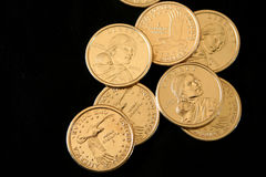 U.S. Gold One Dollar Coins. Sacajawea is the Shoshone Indian guide who assisted Lewis and Clark on their 1804 expedition to the western region of North America stock photos