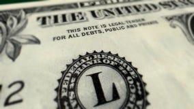 U S Het Close-uppan van één Dollarbill macro stock illustratie