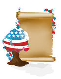 U.S. holidays. Scroll and tree A Royalty Free Stock Photo