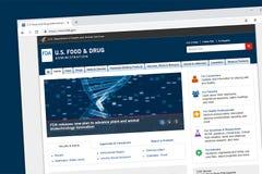 U S Homepage del sito Web di FDA fotografia stock