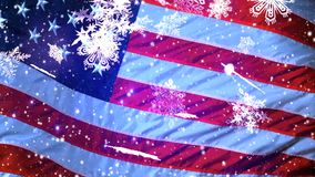 U.S.A. Il fondo di Natale, fiocchi di neve di caduta, ha offuscato il Natale il fondo, buon anno video d archivio