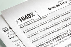 U.S. Income tax form close-up Stock Photos